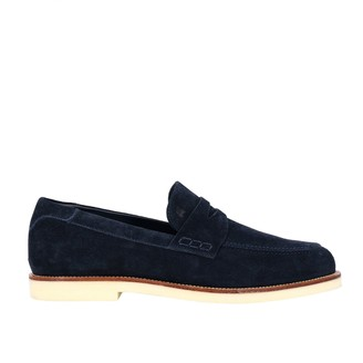 Hogan Loafers Business Casual Suede Loafer With Brogue Motif