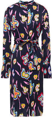 Paul Smith Belted Printed Satin Shirt Dress