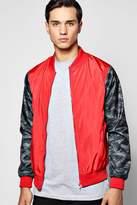 boohoo Lined Nylon MA1 Bomber Jacket with Camo Sleeves red