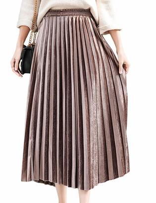 HAHAEMMA Women Pleated Skirt Maxi Skirt Dresses Long Skirt Pleated Skirt Pleated Maxi High Elastic Waist A-Line Pleated Long(GO