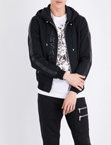 Versace Leather-trimmed cotton jacket
