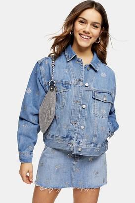 Topshop Womens Petite Diamante Polka Dot Denim Jacket - Mid Stone
