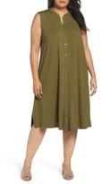 Eileen Fisher Plus Size Women's Jersey Mandarin Collar Duster Dress