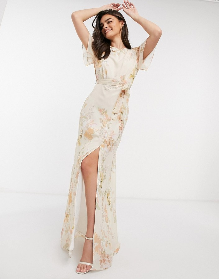 Thumbnail for your product : Hope & Ivy bridesmaid draped back maxi dress in peach floral