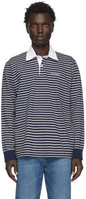 Saturdays NYC Grey and Navy Sanders Striped Polo