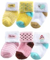 Luvable Friends Pink & Yellow Appliqué Six-Pair Sock Set - Infant