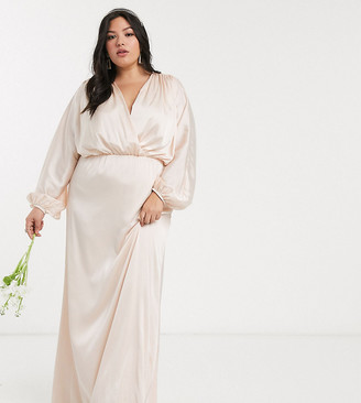 TFNC Plus bridesmaids long sleeve sateen maxi dress in ecru