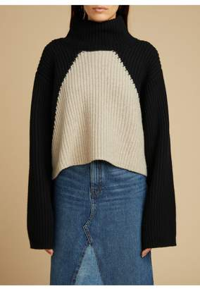 KHAITE The Marianna Sweater In Black And Powder