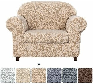 Overstock Subrtex 2-Piece Stretch Armchair Couch Cover Jacquard Damask Slipcover