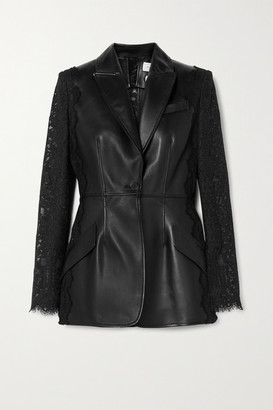 Alexander McQueen Paneled Leather And Cotton-blend Corded Lace Blazer - Black