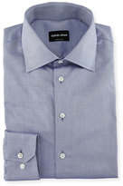 Giorgio Armani Solid Cotton Dress Shirt, Blue
