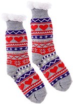Wanted Women's Plush Heart Thermal Knee High Slipper Socks