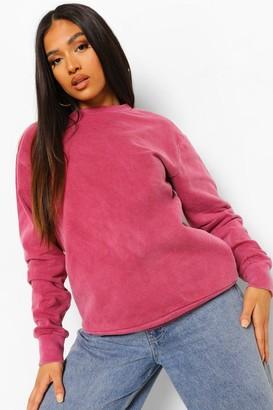 boohoo Petite Oversized Acid Wash Sweatshirt