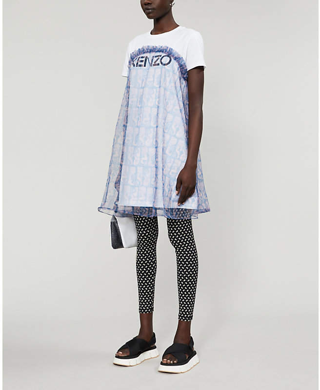 Kenzo Logo-print tulle T-shirt dress