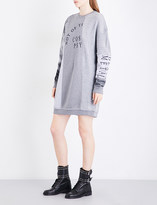 McQ Contrast-panel cotton-jersey and knitted mini dress