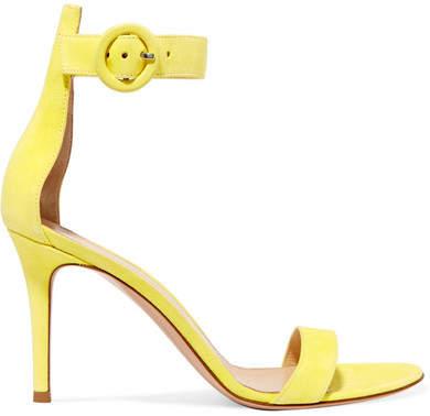 Gianvito Rossi Portofino 85 Suede Sandals - Yellow
