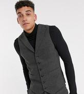 Asos Design DESIGN Tall wedding super skinny suit waistcoat in wool mix herringbone in charcoal