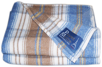 Poyet Motte Chevreuse 67% Wool / 33% Acrylic Blanket, 450Gsm, Blue/Plaid, Twin