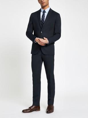 River Island Textured Slim Fit Suit - Navy