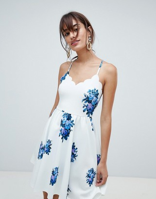 Asos DESIGN Scuba Scallop Mini Dress in Floral Print
