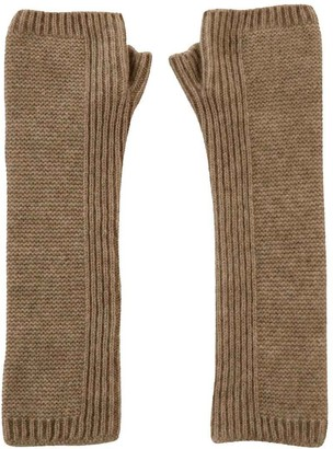 Cashmere Sock House   Scotland Scottish Pure Cashmere Purl Knit Long Wrist Warmer Gloves Soft Grey (Driftwood Brown)