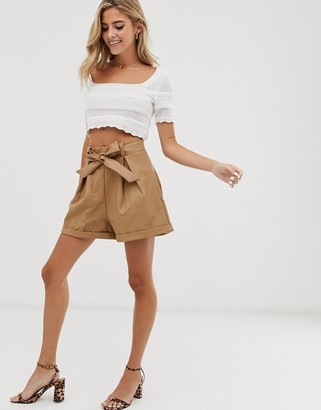 Glamorous belted shorts in faux leather-Beige
