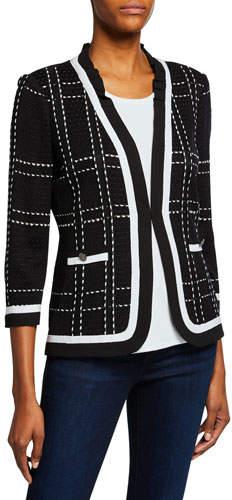 23941eea20 3/4-Sleeve Short Plaid Jacket with Striped Trim
