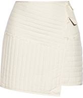 Tibi Juna Wrap-Effect Quilted Silk Mini Skirt