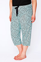 Yours Clothing Mint Green & Black Heart Print Cropped Pyjama Bottoms