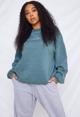 Missguided Plus Size Green Washed Sweatshirt