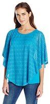 Notations Women's Elbow Sleeve Lace Ponch O with Solid Under Piece