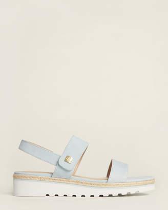 Lauren Ralph Lauren English Blue Jewelle Wedge Suede Sandals
