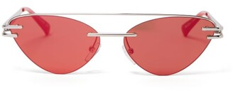 Le Specs X Adam Selman The Coupe Cat-eye Metal Sunglasses - Womens - Orange