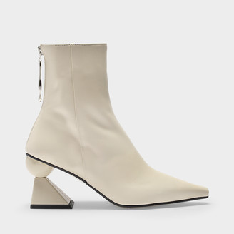 YUUL YIE Ankle Boots Amoeba Glam In Smooth Cream Leather