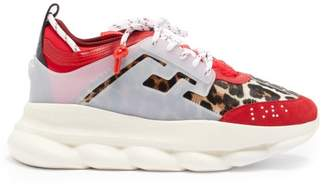 Versace Chain Reaction Calf Hair Trainers - Mens - Red Multi