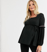 Mama Licious Mama.Licious Mamalicious Maternity broderie smock top with square neck in black