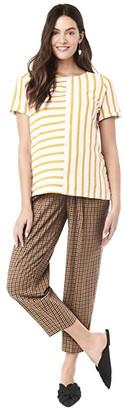 Loyal Hana Ginger Maternity Top (White/Yellow) Women's Clothing