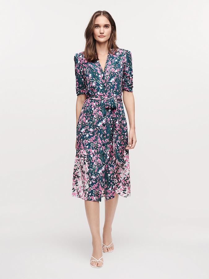 Diane von Furstenberg Sparrow Silk Crepe de Chine Midi Dress