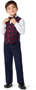 Nautica Little Boys Plaid 4 Piece Vest Set