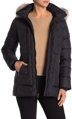 Larry Levine Faux Fur Trim Hooded Quilted Parka
