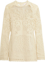 See by Chloe Open-knit Cotton-blend Top - Off-white