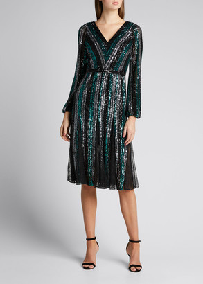 Marchesa Notte Sequin Multicolor Striped V-Neck Long-Sleeve Dress