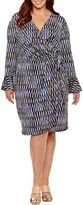 London Times Long Sleeve Geometric Wrap Dress-Plus