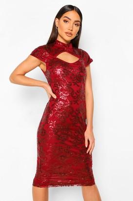 boohoo Sequin Damask Keyhole High Neck Midi Dress