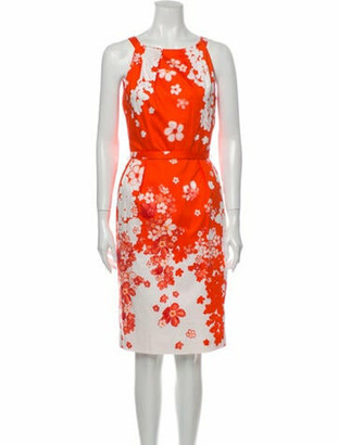 Versace Floral Print Knee-Length Dress Orange