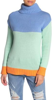 MelloDay Colorblock Turtleneck Sweater (Petite)