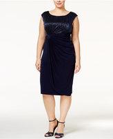 Connected Plus Size Metallic Faux-Wrap Dress