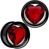 "Body Candy Red Heart Anodized Titanium Internally Threaded Plug Set 7/8"""