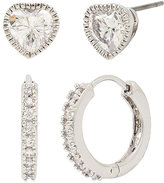 Betsey Johnson Betsey Blue Pave Hoop And Heart Stud Earring Set