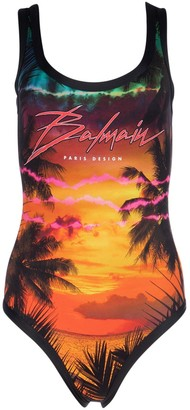 Balmain Tropical Print Swimsuit
